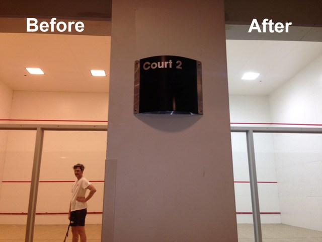 Before and After of 1st Source Lighting's 2x2 LED Racquetball Court fixture.